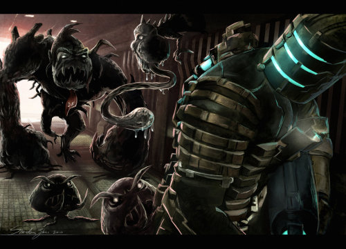 DEAD SPACE BROS by *Sheridan-J A necromorph Yoshi would be the most terrifying thing. Before you realize what's happening BOOM, you're in his rotting stomach.