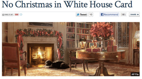 Today in Dumb: Fox News and Sarah Palin are outraged—outraged!—at this new White House Christmas card, because…well, that's not entirely clear. Especially when you take a look at what the Fox Christmas card looks like.