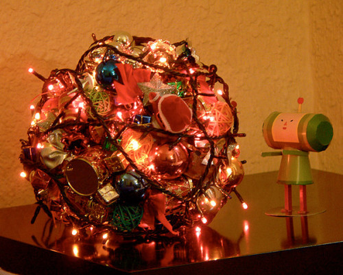 videogamenostalgia:  Christmas: Katamari Damacy Style Created by Flickr user szy, this awesome creation displays a Katamari-styled Christmas tree. For more photos, click here. Merry Christmas! (via: Technabob)