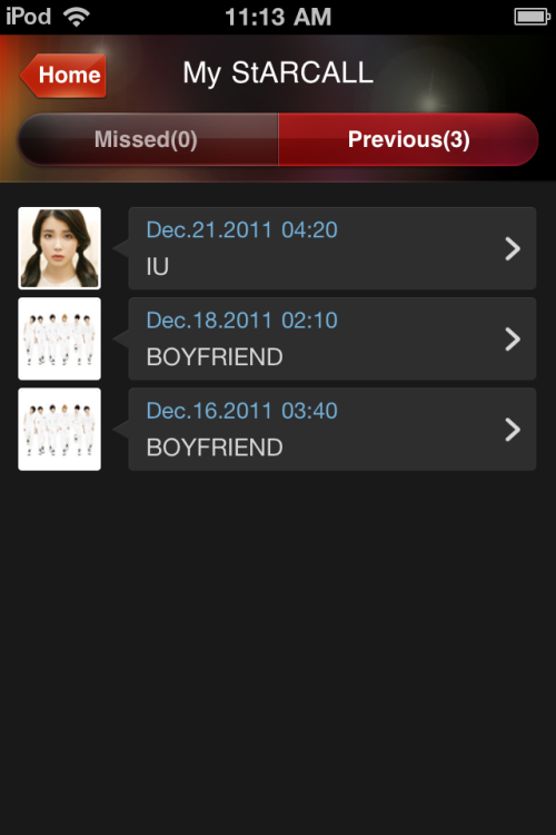 My Starcalls so far :3 Just got the IU one a couple of minutes ago :) I think IU was wishing us a Merry Christmas in the video (idk because it doesn't have subtitles)