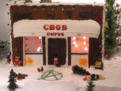 journalofajournalist: This CBGB Gingerbread House is great. Just needs a few marzipan punx n skins fighting in the corner and a matching Coney Island High advent calendar.today:  getbackvassifer:  yes, it's a Gingerbread CBGB!  The passed-out snowmen add that special Christmas touch.