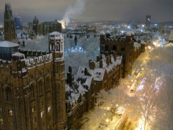 bluepueblo:  Snowy Night, Yale University, New Haven photo via landay