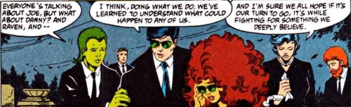 """Like a four-way with Donna, Starfire, and Pantha….Oh, did I say that out loud?"" (from New Titans #85)"