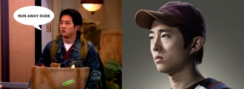 ispyafamousface:  Steven Yeun can currently be seen as Glenn on AMC'S The Walking Dead, where he lives in close quarters with the few remaining survivors of a zombie apocalypse. To his character on The Big Bang Theory (the guy who failed Sheldon's roommate test) a zombie apocalypse probably sounds pretty appealing compared to living with Sheldon Cooper. We found this on reddit, but thanks to cyrilleantonio who submitted it as well! Follow us on Twitter @ISpyAFamousFace!