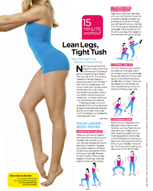 freallife:  15 minute lean leg, tight tush workout from Women's Health Mag