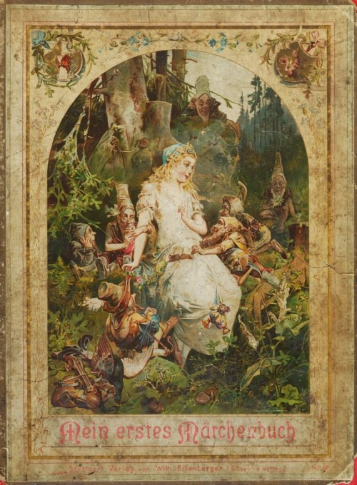 litglutton:  Cover of a German fairy tales book, image of Snow White and the Seven Dwarfs