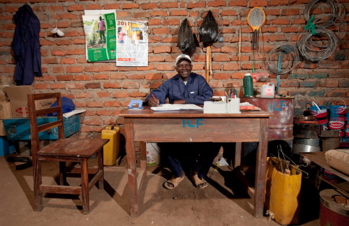 Eddy Odongo manages the books at the first charcoal-efficient stove factory in his community.  Learn more www.theadventureproject.org.