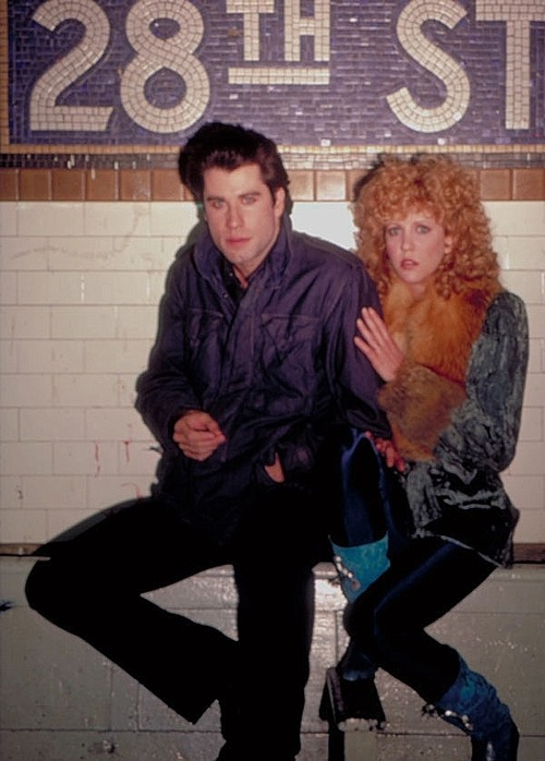 lifeonmars70s:  Nancy Allen & John Travolta  Taken during the filming of Blow Out (1981), I presume.