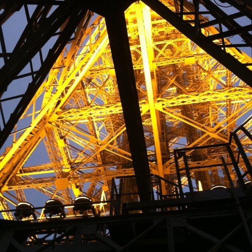 Inside the Eiffel Tower. (Taken with instagram)