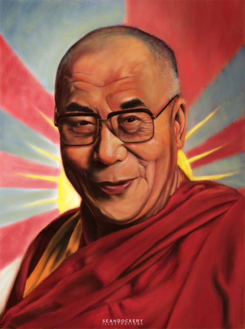 Editorial illustration of the Dalai Lama finished!