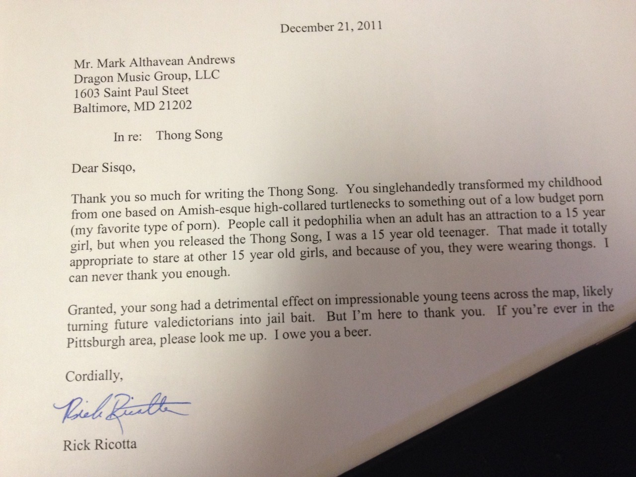 Guys… GUYS! My boss just printed an open letter to Sisqo, thanking him for making Thong Song. This one is a gem. effin guy is nuts.