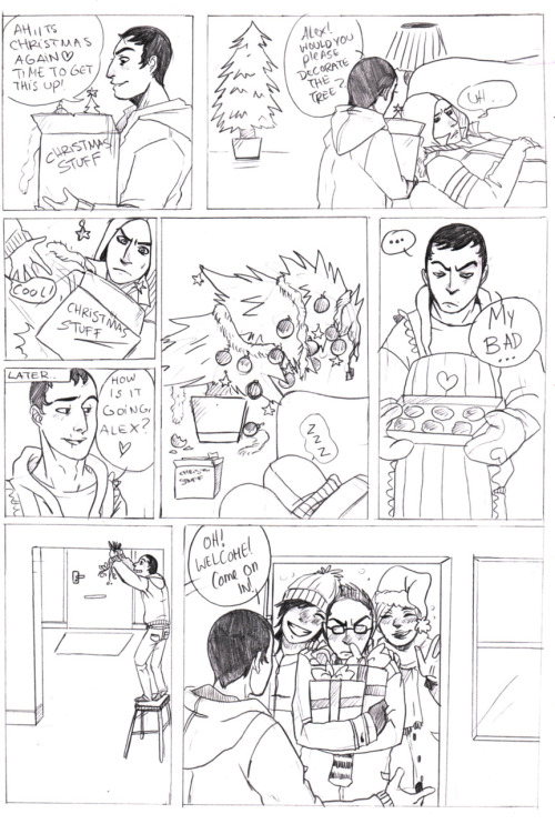 rotzloeffel:  Assassin`s Christmas Page 1… A lazy as Fuck Comic Page I`ve drawn today because my Class was over,faster then expected and I had too much time… meh.  While I'm working on the pages have some christmas-fun with Alex and friends by rotzloeffel ♥