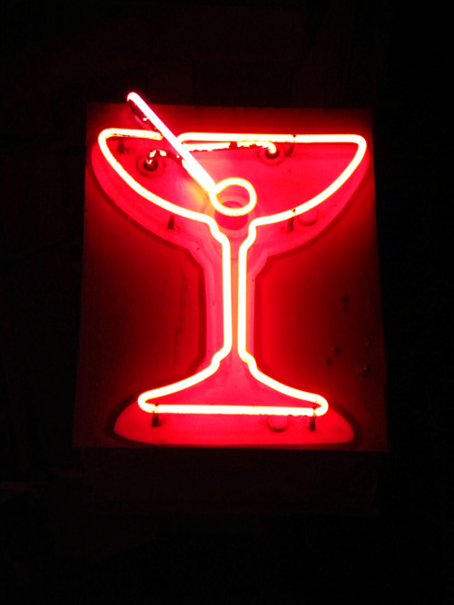 Martini neon sign somewhere in San Francisco California.