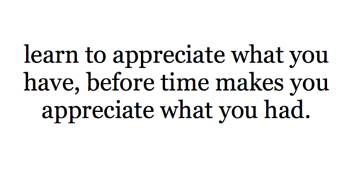 learn to appreciate what you have,before time makes you appreciatewhat you had.