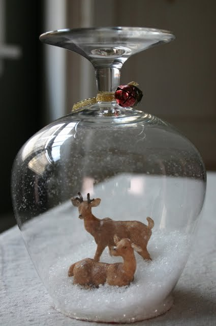 Goblet snow globe.  An upside down take on the DIY snow globe.  Reminds me a little of the Winter Scenes in Vintage Candy Jars from A Bit of Sunshine that I posted about a few weeks ago.  See how to create your own snow goblet on Ikea Hackers here.