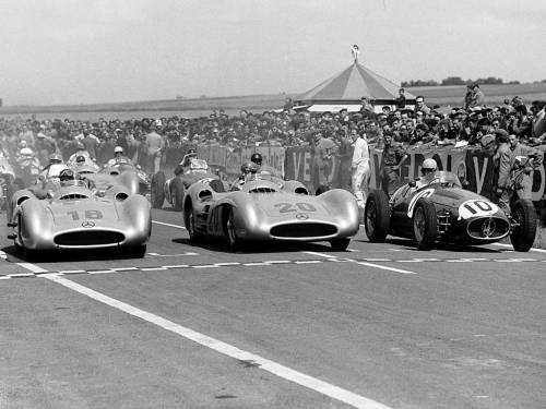 Fangio, Kling & Ascari, Reims Grand Prix, 1954. The first two on the W196 Benz and Ascari on the Maserati 250F.