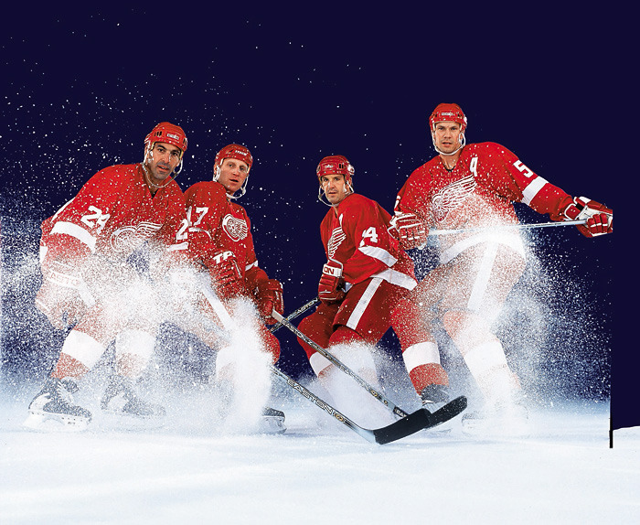 Detroit Red Wings Chris Chelios (24), Brett Hull (17), Brendan Shanahan (14) and Nicklas Lidstrom pose for the 2002 SI Hockey Preview. The Red Wings currently rank fifth in SI.com's NHL Power Rankings. Where does your team stand? (David E. Klutho/SI) POWER RANKINGS: Find out where your team ranksGALLERY: NHL Teams By Value | Best NHL Uniforms