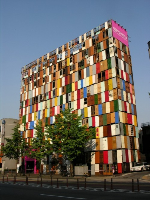 10-Story 1,000 Door Public Art Installation by Choi Jeong-Hwa.
