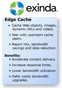 Exinda Edge Cache improves application delivery
