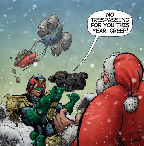 keiren-smith:  Judge Dredd Meets Santa by ~GibsonQuarter27 for the 2000AD Advent Calendar  From Mr Wells on the 2000AD forums:  Gibson Quarter and Tom Berry collaborated to bring this awesome slice of Christmas fun…