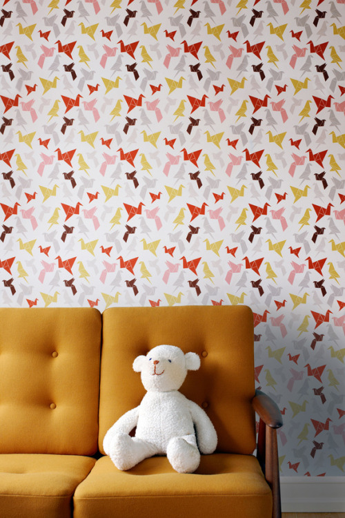 ttaa:  origami wallpaper? so cool. homedesigning:  Things we're loving today: Origami wallpaper | Dottir & Sonur
