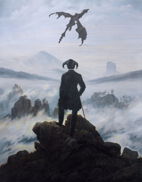 "justinrampage:  With inspiration from C.D. Friedrich's ""Wanderer In A Sea of Fog"" painting, artist A.J. Hateley created this beautiful mash up. Prints are now available for purchase at her RedBubble store! Dragonborn In A Sea of Fog by A.J. Hateley (Tumblr) (Shop) Via: ajhateley"