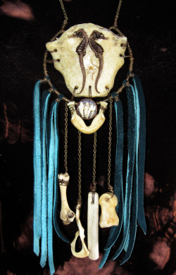 Custom Necklace order Human sternum bone with seahorses and rattle snake vertebra , raccoon teeth, fish jaw, pigeon bone, squirrel hip bone, deer rib and knuckle bone.With turquoise leather fringe!