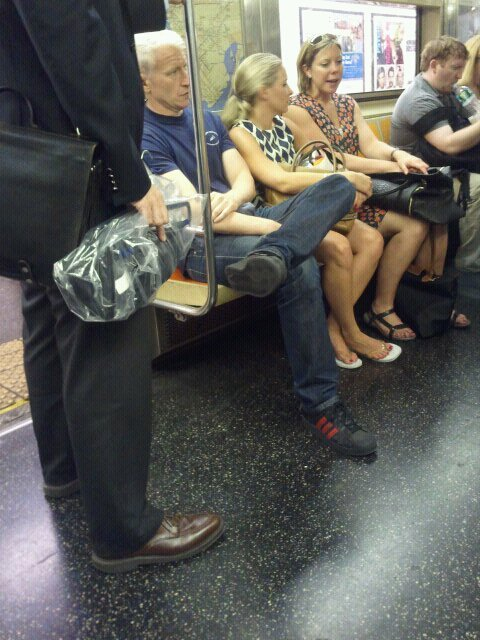 "'Oh, hi Anderson Cooper on the 1 train downtown. Didn't mean to ruin your ""I'm just a regular guy"" on the subway moment… he really is a silver fox!'Anderson Cooper, round two. PS, thanks for the submissions. Keep 'em coming, guys. ;)"