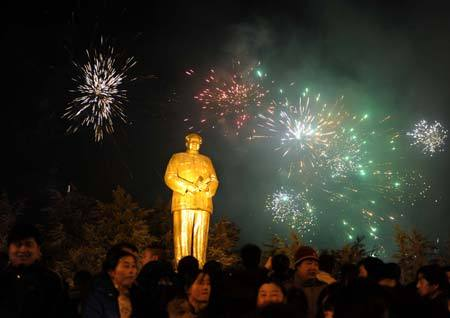 "fuckyeahmarxismleninism:  December 26, 2008 - China marks 115th birthday of former leader Mao Zedong The newly inaugurated Mao Zedong Square in his hometown of central Hunan Province was crowded with people Friday to mark the 115th birthday of the former Chinese leader. Thousands of people gathered at the square near Mao's birth place, Shaoshan Village, after midnight to cherish the memory of the ""Great Helmsman"" who led the nation to found New China in 1949 and served as top leader until he died in 1976. People paid tribute in front of Mao's 10.1-meter-tall bronze statue — many presented bouquets and some brought birthday cakes. Most people hummed along when ""The East is Red"", a song in tribute of Mao, was played. Mao's grandson, Mao Xinyu, was also in the crowd to pay his tribute. Nearly every Shaoshan villager had noodles for breakfast Friday, a traditional Chinese food to celebrate birthdays as people believe long noodles bring long lives."