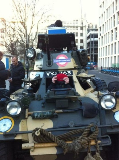 Occupy London take a fourth site … in a fuckin' TANK
