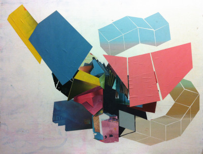 eddievillanueva:  —- 14 —- Eddie Villanueva - collaged images of past paintings and cut paper on wood - iphone photo of in studio activity 12/18 - 2011
