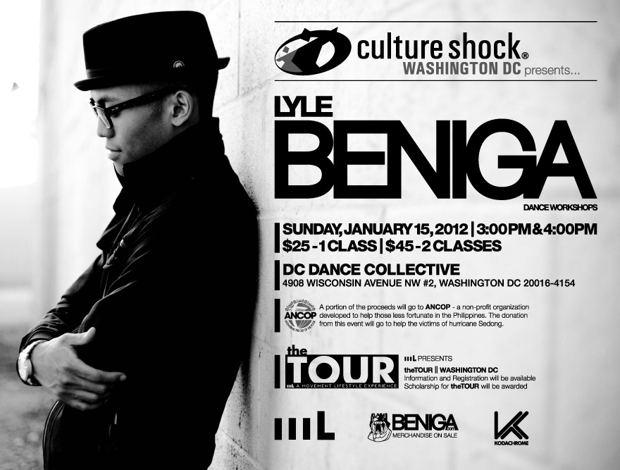 movementlifestyle:  Lyle Beniga is coming home. It has been years since Lyle has taught in DC - but now - on January 15 - he is coming back to teach - equipped with a mission.  This workshop is about more than just dancing - it is about helping the recent victims of Hurricane Sedong in the Phillipines. Lyle will be donating his portion of the profits to a foundation benefiting those in most need. What else do we have going on?? BENIGA.com Merchandise will be on sale!  We will have onsite information and registration for the Washington DC Stop of theTOUR.   So come out, dance, have fun, and at the same time help rebuild the Philippines. Special thanks to Culture Shock DC and KODACHROME! More information can be found here: Facebook Event  Such an honor to collaborate with 2 great dance companies for the greater good. Come out and dance with the best, while supporting the reconstruction of a great country in need. #exposedance