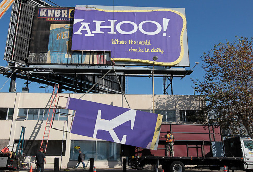 "Time to sell your Yahoo stock? The iconic Yahoo billboard — an emblem of a bygone era built over a decade ago during the heyday of the dot-com boom — was brought down today by Clear Channel, which announced last month that the space had suddenly become available. The move surprised some, considering the billboard's status among Bay Bridge commuters, and the relatively low cost of keeping the sign up ($65,000 a month). Is Yahoo! in trouble? A spokesperson told the San Jose Mercury News that the company was merely focused on ""new and innovative ways"" to market themselves. Namely the kind that don't cost a lot of money. Check out the billboard's better days below, and on its official Flickr page, which, unlike its subject, is still up.  [sfgate / mercurynews / flickr / photo: shawn.clover.]"