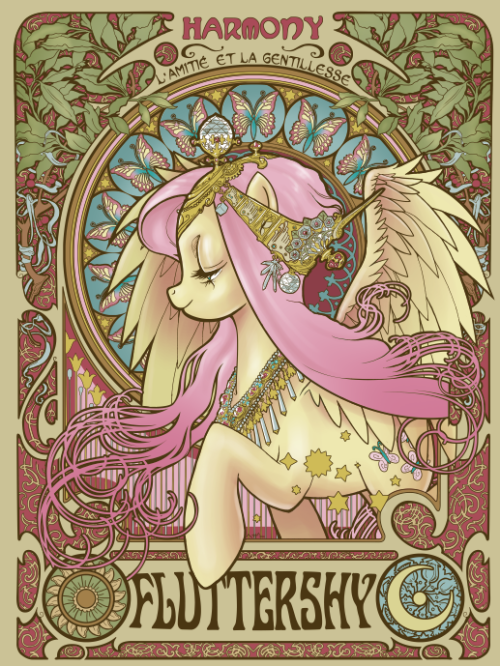 ohsixthirty:  omfg, this is kind of amazing! Fluttershy Nouveau by ~hezaa Purchase here: welovefine.com