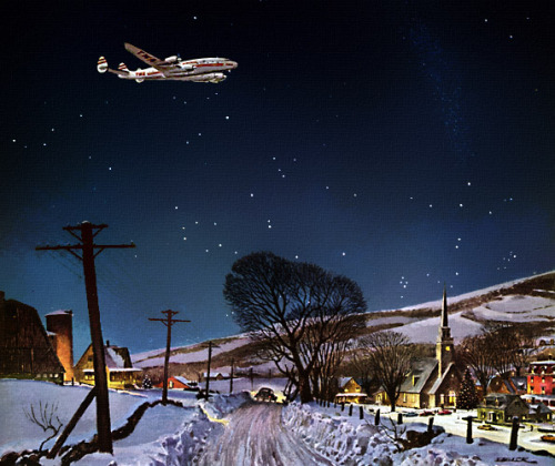 """The Flight Before Christmas"" by Peter Helck, from a 1952 Trans World Airlines ad. image via Plan59. -R."