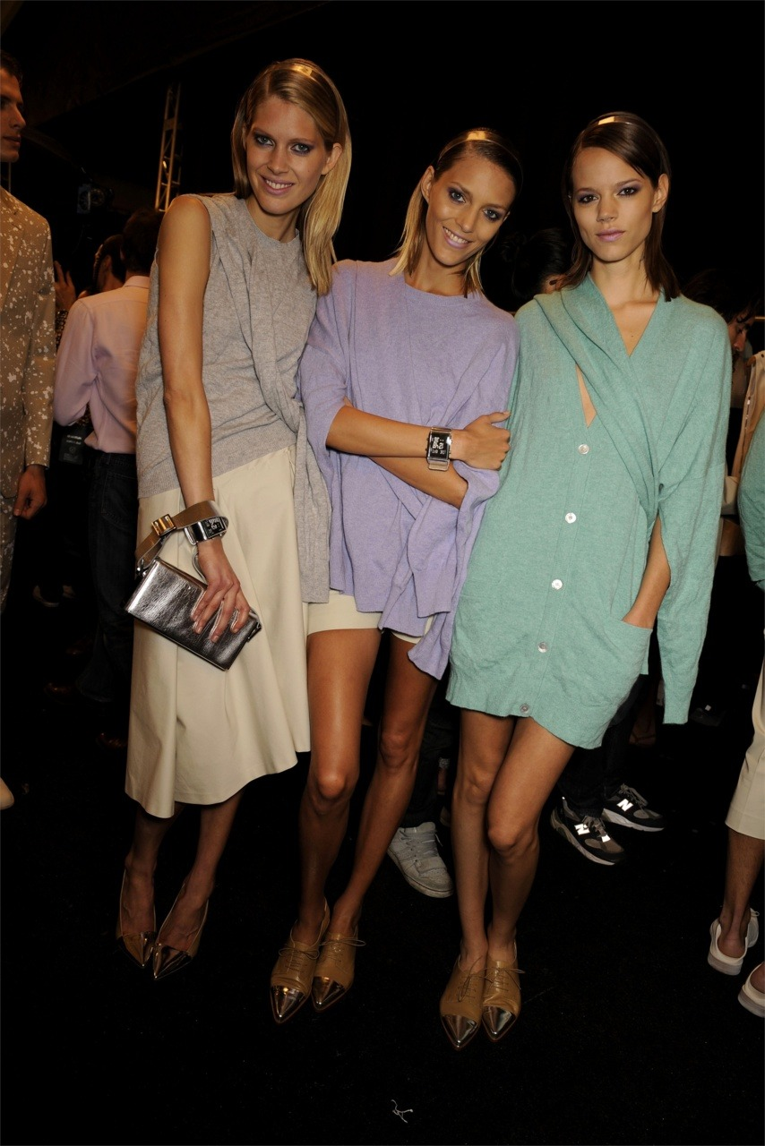 Iselin, Anja and Freja backstage at Michael Kors ss10.