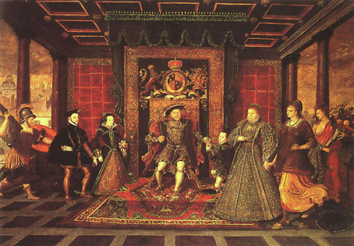 The Family of Henry VIII Left to right: Philip and Mary with War, Henry VIII, Edward VI, Elizabeth I with Peace and Plenty  National Museum of Wales, on loan to Sudeley Castle