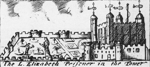 Woodcut of Princess Elizabeth as a prisoner in the Tower of London  British Library