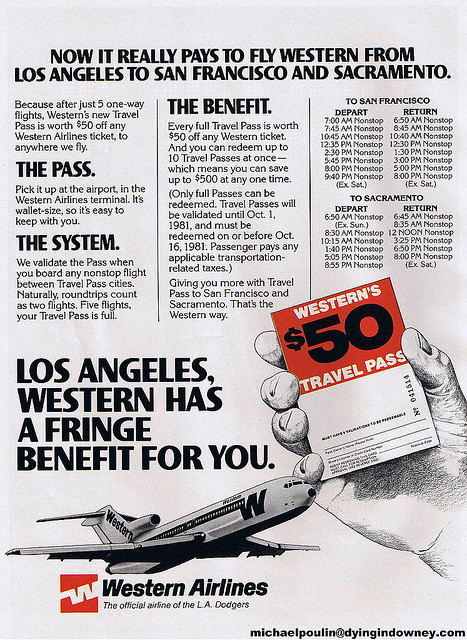 1981 Western Airlines ad Swapmeet Thursday scan by Dying In Downey on Flickr.In the California market, Western served SFO and SMF from LAX. On those routes, they ran a promotion where five round trips would earn one a pass for $50 off their next flight. Which was quite a discount, considering airfares back then.