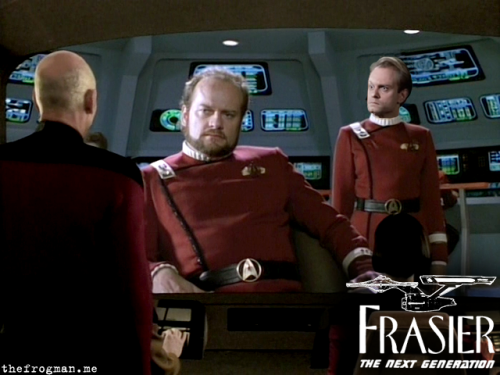 "thefrogman:  ""Greetings. I am Captain Frasier Crane… I'm listening."" ""Why do you get to talk to the people on the screen?"" ""Not now, Niles."" ""You always say that. I'm just as qualified to talk to the screen people as you are.""  Picard: [facepalm]"