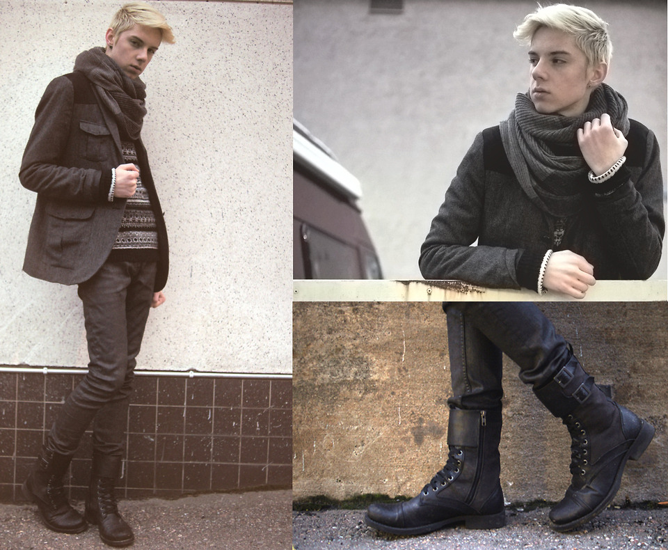 "(via Scarf, Blazer, Sweater, Leather Jeans, Boots // ""Cityboy"" by Mikko Puttonen // LOOKBOOK.nu)"