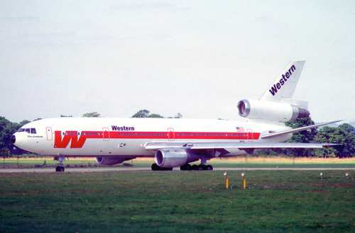 Western Airlines DC-10-30; N821L, August 1981 by Aero Icarus on Flickr.On a personal note, I own a really nice model of a Western DC-10. Of all places, I found it at a pawn shop. I'll post pics once I get my camera back.