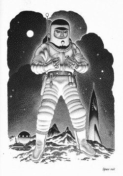 Space suit illustration by Virgil Finlay (1956). Found here.