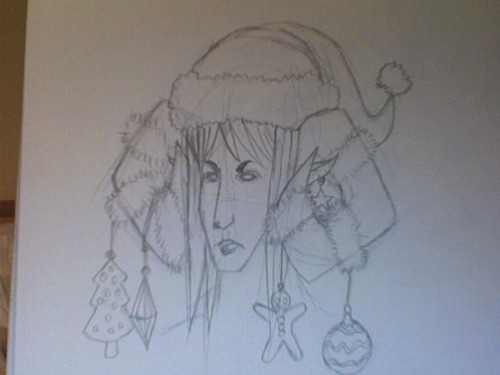 minesweeperaddict:  goofy 4am holiday sketch of SamGideon's oc Suhayl aka Sassy horns make the best christmas tree remind me to scan/pretty this up