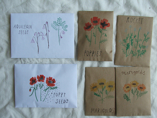 batixa:  seed gifts with watercolour envelopes. (by tiny happy)