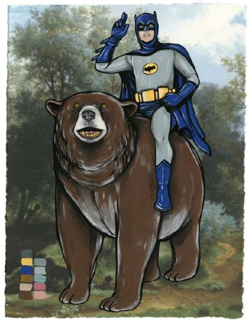 "Fancy Batman rides a bear. A BEAR. baturday:  Love that I can Google for ""batman riding bear"" and actually get results. The future is magical."