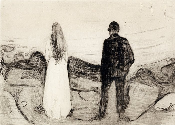 deadpaint:   Edvard Munch, Two human beings (the lonely ones)