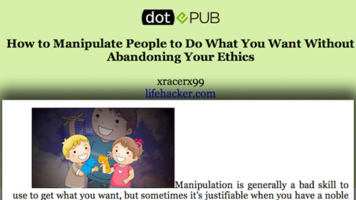 DotEPUB Converts Websites to Ebooks  Want an easy way to convert and article to an eBook for reading later? If you have a lot of articles stored up you want to bring along with you on a trip and you don't have access to read-it-later services, this will work in a pinch. (via DotEPUB Converts Websites to Ebooks)