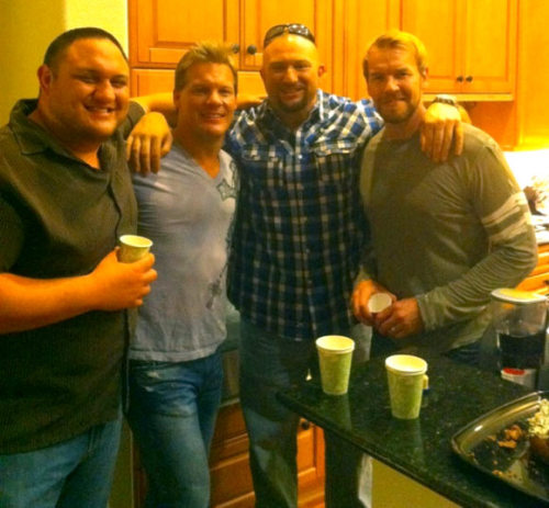 Awesome time w @Christian4Peeps @SamoaJoe and Brother Ray tonight!! Merry Christmas f**kers!! -   @IAmJericho