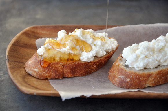Ricotta and honey on toasted bread, yes please